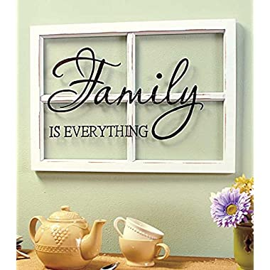FAMILY White Wooden Window Pane Frame Sentiment Decor Shabby Chic Cottage Wall Hanging Inspirational Home Accent Plaque Decoration