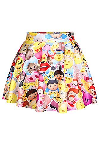 Pink Queen Women's Funny Emoji Printed Strechy Flared Skater Skirt Free Size by Pink Queen