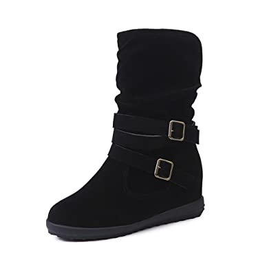 d20bd2b37fb7 Riou Ladies Womens Classic Low Wedge Buckle Biker Ankle Trim Flat Ankle  Boots Shoes  Amazon.co.uk  Clothing