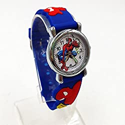 High Quality Blue Boy Watch Girl Kids Children's Gift Fabric Strap Learn Time Tutor Student Wristwatch