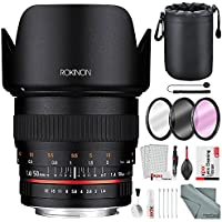 Rokinon 50mm f/1.4 AS IF UMC Lens for Canon EF-Mount with Deluxe Accessory Bundle and Cleaning Kit