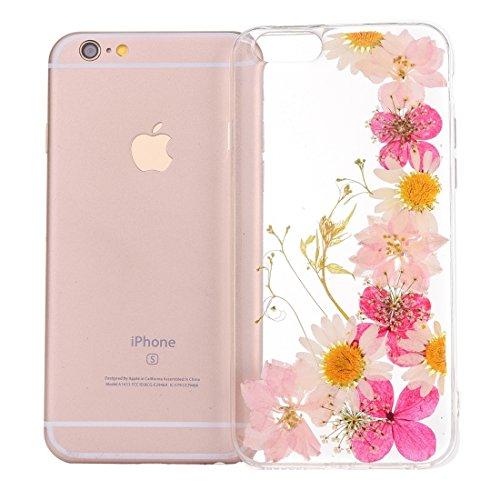 GR Weiche transparente TPU schützende Fall-Epoxy-tropfende gepresste reale getrocknete Blumen-Abdeckung für iPhone 6 u. 6s ( SKU : Ip6g2996b )