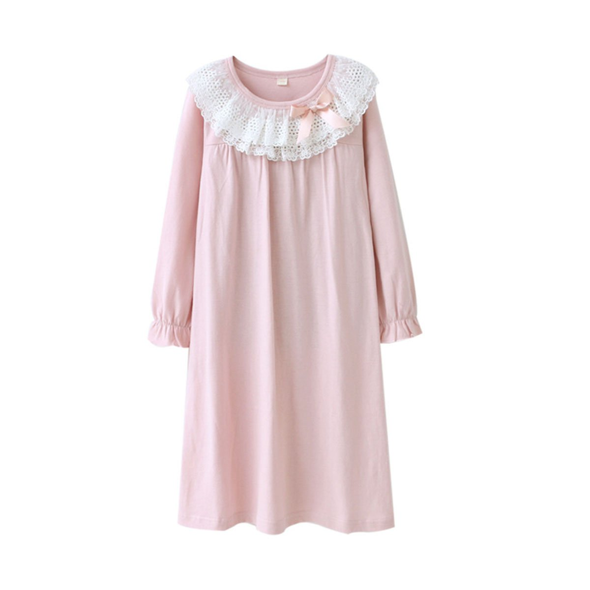 KINYBABY Girls Cotton Nightgown Lace Bowknot Princess Sleepwear Nightwear Dress