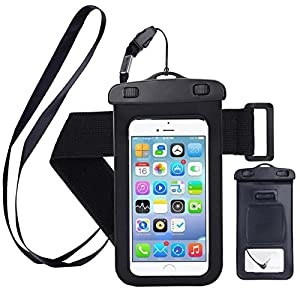 "Universal Waterproof Cell Phone Case: Phone Pouch Dry Bag Compatible With iPhone 6s & 6s Plus, Samsung Galaxy, Sony, HTC, LG, Motorola, Nokia and BlackBerry Phones Up to 6"" Diagonally in Size - Black"