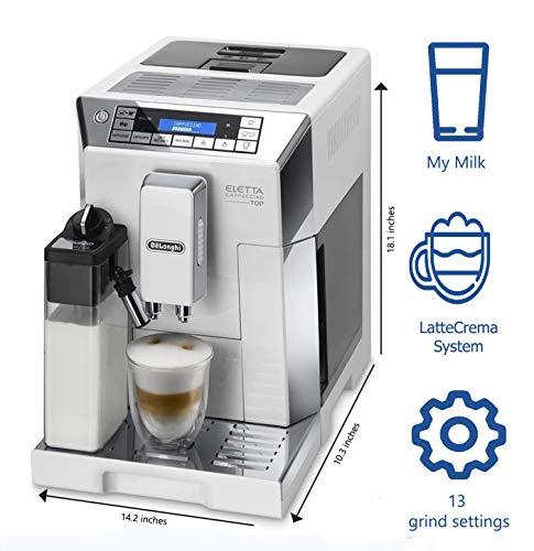 Delonghi super-automatic espresso coffee machine - with an adjustable silent ceramic grinder, double boiler, milk frother for brewing espresso, cappuccino, latte & macchiato, Eletta ECAM 45760 by DeLonghi (Image #1)