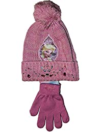 Disney Frozen ~ PREMIUM SHINING RHINESTONES Hat & Gloves Set, in Pink OR Blue