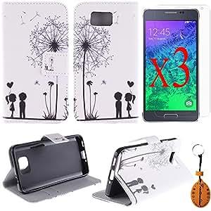 Traitonline ® película protectora + llavero + Samsung Galaxy Alpha G850/8508S caso cuero cartera con soporte de piel para Galaxy Alpha teléfono G850/8508S bolso con agarradera de tarjeta Flip tapa