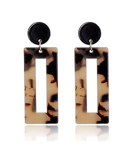 Faliya Simple Grandes Boucles d'oreilles Carré Acrylique Géométrique Résine Boucles d'oreilles pour Femmes Minimaliste Bijoux Boucles d'oreilles, Marron Clair