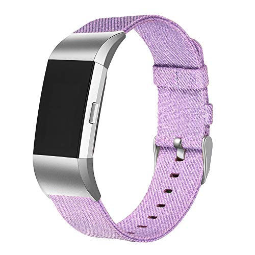 bayite Canvas Bands Compatible with Fitbit Charge 2, Soft Classic Replacement Wristband Straps Women Men, Lavender Small