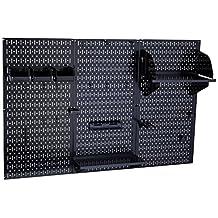Wall Control 30-WRK-400 BB Pegboard Organizer Metal Standard Tool Storage Kit Accessories, 4-Feet, Black/Black