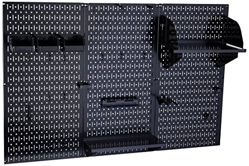 Pegboard Organizer Wall Control 4 ft Metal Pegboard Standard Tool Storage Kit with Black Toolboard and Black Accessories