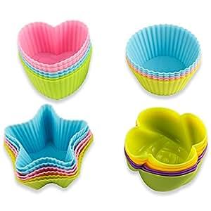 24pcs silicona tazas para hornear pemotech moldes de horneado reutilizables cupcakes - Moldes silicona amazon ...