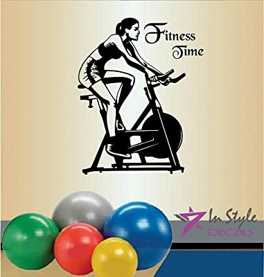 Wall Vinyl Decal Home Decor Art Sticker Fitness Time Words Sign Girl Woman People Fitness Bike Gym Sport Room Removable Stylish Mural Unique Design