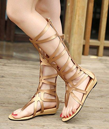NiSeng Mujer Romana Strappy Gladiador Sandalias Thong Correa Dedo Del Pie Botas Sandalias Dorado