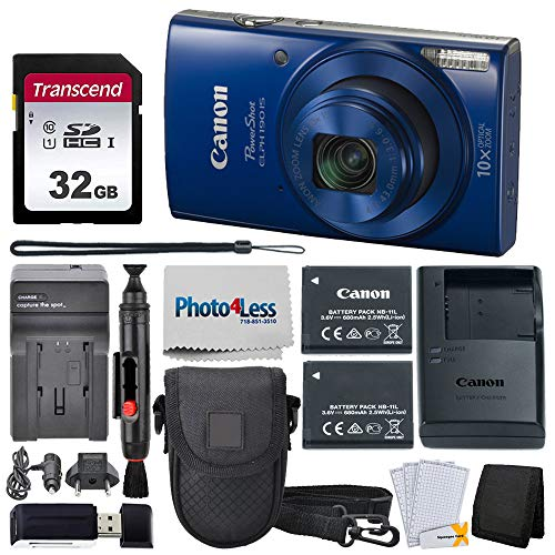 Canon PowerShot ELPH 190 Digital Camera (Blue) + Point & Shoot Camera Case + Transcend 32GB SD Memory Card + Extra Battery & Worldwide Travel Charger + Top Value Accessory Bundle!