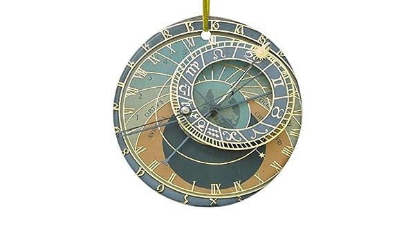 Navidad Regalos astronómico reloj de pared adorno de cerámica círculo redondo Patio Navidad decoración adorno decoración: Amazon.es: Hogar