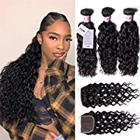 UNice Hair Icenu Series 8A Grade Brazilian Water Wave 3 Bundles with Lace Closure Free Part 100% Unprocessed Virgin Human Hair Weave Extensions (18 20 22+16 closure)