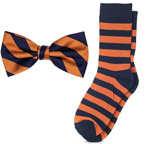 Orange Bow Socks - Jacob Alexander Matching College Stripe Dress Socks and Bow Tie - Orange Navy