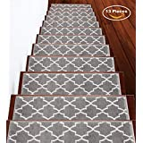 Sussexhome Stair Treads 9 inch by 28 inch Trellisville Collection Contemporary, Cozy, Vibrant and Soft Stair Treads, Gray & White, Pack of 13 [100% Polypropylene]