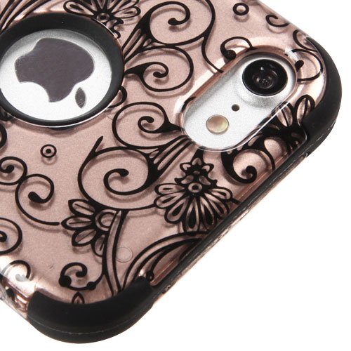 For iPhone 7 / 8 Case, Kaleidio [TUFF] Rugged Shockproof Hybrid 3-Piece Dual Layer Protective Armor Cover for Apple iPhone 8 / 7 [Includes a Overbrawn Prying Tool] [Rose (Rose Gold Clover)