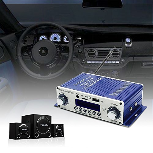 Tsumbay Mini Stereo Amplifier Hi-Fi Audio Power Amplifier with Remote Control, DC 12V Audio Music Player for Auto Car/Boat/Motorcycle/Home Theater/Speakers, SD/DVD/USB/MP3/FM Digital Player Supported