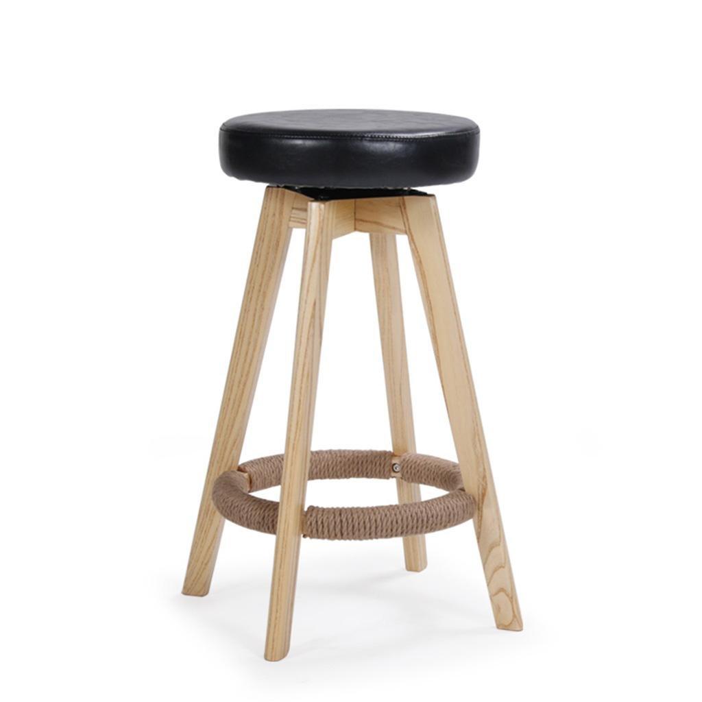 木製の椅子、天然木製の脚バーのスツール綿とPUマットシート朝食バー、360度回転するデザイン、高さ65cm / 74cmのキッチンカウンター付きの高いスツールヴィンテージキッチンスツール , 74CM B07BT4LZ41 74CM|Black Black 74CM