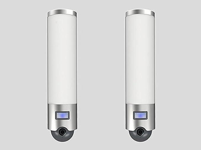 Juego de 2 lámparas de pared Focos LED exterior con detector de movimiento y cámara