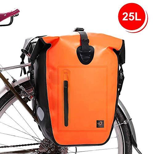 Waterfly 25L Bike Bag Bike Panniers Bag Waterproof Bike Saddle Bag Extensible Bicycle Rear Seat Bag Shoulder Bag with Rain Cover for Riding Cycling (Orange)