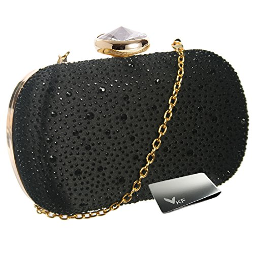 (kilofly Women Clutch Handbag Purse Hard Case, Rhinestone Crystal + Money Clip)