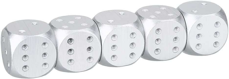 Party Favor and Gifts Silver Gold Dice Silver-Square Box Alomejor 6-Sided Dice Set Spot Dice with Box for Math Learning Games