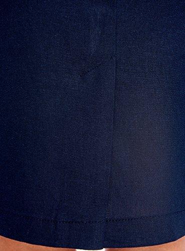 en 7900n oodji Lin Collection Jupe Bleu Droite Femme IqwpT47