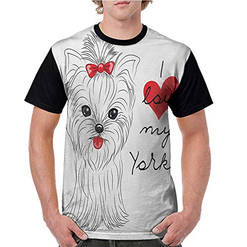 Female Baseball Short Sleeve,Yorkie,I Love My Yorkie Cute Terrier with its Tounge Out Adorable Yorkshire Terrier,Black White Red S-XXL Short Sleeve Round Neck