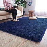 Noahas Ultra Soft Shaggy Area Rugs Fluffy Living Room Carpet Bedroom Fur Rug Anti-Skid Child Playing Mat Home Decor, 5.3 x 7.5 Feets Indigo