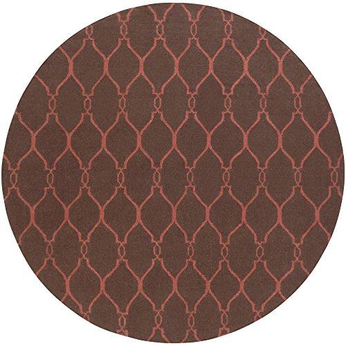 Surya Jill Rosenwald Fallon FAL-1010 Flatweave Hand Woven 100% Wool Hot Cocoa 8' Round Global Area Rug