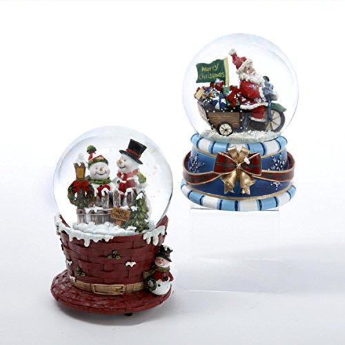 Pack of 4 Musical Santa Claus and Snowman Christmas Water Globes 4'' by KSA