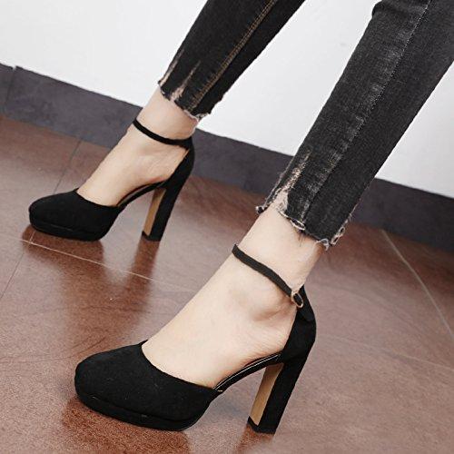 Xue Qiqi Zapatos de la Corte Cabeza redonda única impermeable solo zapatos elegantes y sencillas y audaz para el campo de luz alta Heel Shoes mujer Negro