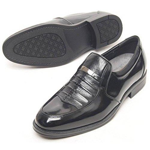 Epicstep Heren Lederen Jurk Formele Zakelijke Casual Schoenen Oxfords Slip Loafers Zwart