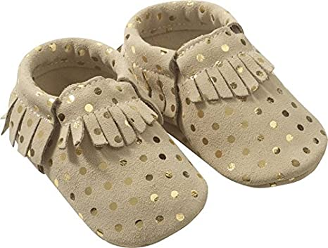 e6775473e06b9 Tichoups Chaussons cuir souple à franges Beige à pois 16 17  Amazon ...