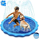 Dogs Sprinkler Splash Pad, Sprinkler for Kids, 59 Inches Inflatable Large Dogs Bath Pool, Outdoor Backyard Wading Pool for Dogs Babies and Toddlers, 50% Thickened Durable