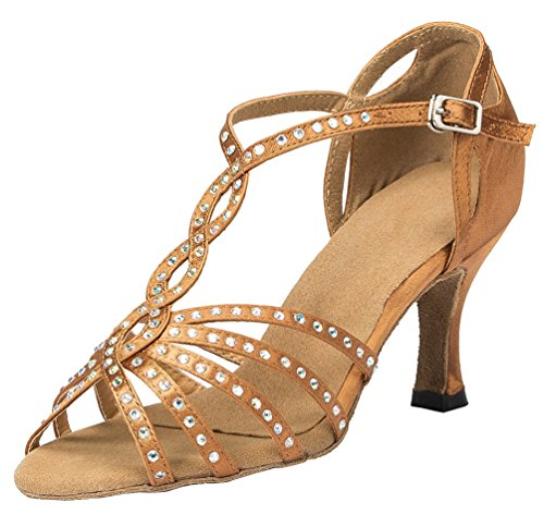Dance YYC Ballroom Shoes Satin Womens Latin Inch 3 Tango CFP Brown Heel Professional L065 PwAXx7vqvd