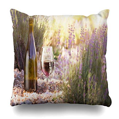 - Ahawoso Throw Pillow Cover Wine Red Bottle Glass On Ground Against Lavender Sunset Over Summer Field in Provence Design Decorative Pillowcase Square 20x20 Home Decor Zippered Cushion Case