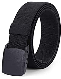 Men's Tactical Stretch Belt JASGOOD Plastic Buckle Belt 1.5 Inches Wide, Fit Up to 44 Inches, Black