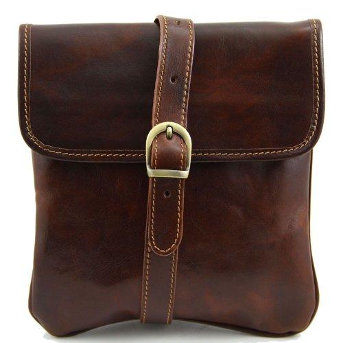 de hombro al cerdo hombre piel Bolso Leather marrón de marrón para Tuscany AqZFn1ww