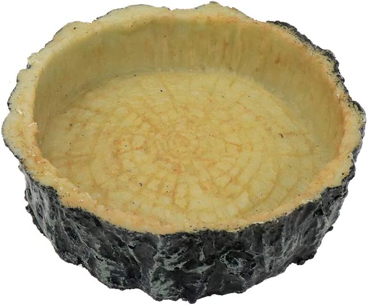 Bitray Reptile Bowl, Resin Rock Reptile Food and Water Feeder Terraium Bowl for Feeding Dish for Lizard Gecko Bearded Dragon Turtle (1 Pcs, Wood Grain)