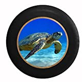 Full Color Full Color Sea Turtle on Sandy Bottomed Ocean Floor Jeep RV Camper Spare Tire Cover Black 33 in