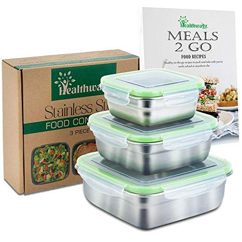 (Stainless Steel Food Containers - Set of 3 - Metal Lunch Container, Sandwich Container or Snack Boxes for Kids, Leak Proof Eco Friendly and Food-Grade Safe Storage - Free Healthy Food Recipe ebook )