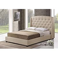 Baxton Studio Wholesale Interiors Ipswich Modern Platform Bed, Queen, Beige