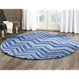 Safavieh Nantucket Collection NAN145A Handmade Blue and Multi Cotton Round Area Rug, 4-Feet in Diameter