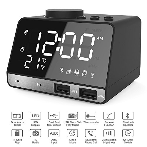 Hetyre 4.2 Inch Alarm Clock Radio, Bluetooth Speaker with Dual Snooze Clock USB Charging Port, AUX TF Card Play, Thermometer, Large Mirror LED Dimmable Display for Bedroom, Kitchen, Hotel, Table, (Circuit Station Card)