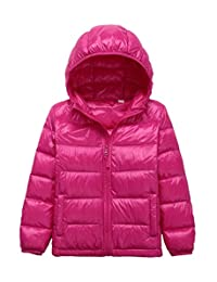 Junyue Boys Girls Ultralight Hooded Down Jackets Portable Windproof Coats for Kids